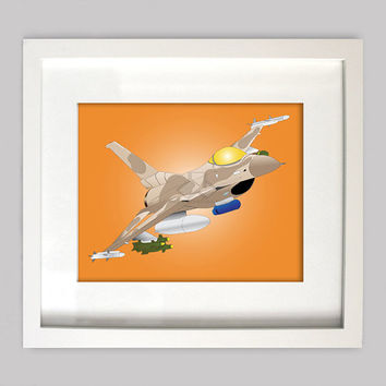 F-16 Fighting Falcon (Desert Camo) Great Airplane Decoration for Boys Room Decor or Nursery Decor Using Airplane Wall Art (Digital Download)
