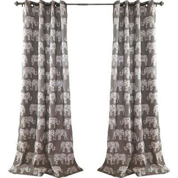 Gray Elephant Parade Room Darkening 84-Inch Curtain Panel Pair