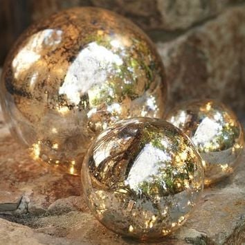 Lit Mercury Glass Globe