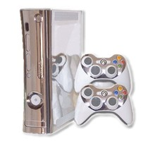 Microsoft Xbox 360 Skin (1st Gen) - NEW - SILVER CHROME MIRROR system skins faceplate decal mod