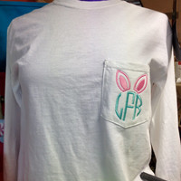 Bunny Ears Monogram Comfort Colors Short Sleeve Tee