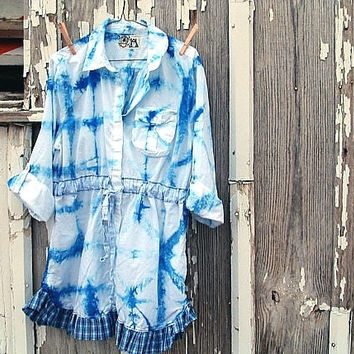 upcycled tunic tie-dyed shibori alpine sky blue shirt dress artsy bohemian refashioned eco clothing large/x-large