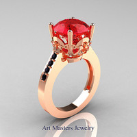 Classic Blazer 14K Rose Gold 3.0 Carat Red Rubies Black Diamond Solitaire Wedding Ring R301-14KRGBDR