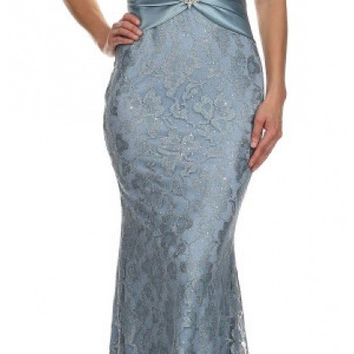 Short Sleeved V Neckline Long Periwinkle Lace Column Gown
