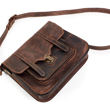 Drank Brown leather messenger bag. Leather crossbody bag. Brown leather satchel. Brown leather bag.
