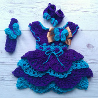 Purple turquoise  Crochet Dress Set for Baby Girls, Baby Girl Coming home Set, Baby Girl Crochet Dress, Shoes,  headband newborn dress