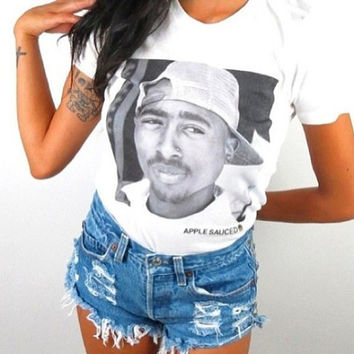 Black and White Tupac Shirt