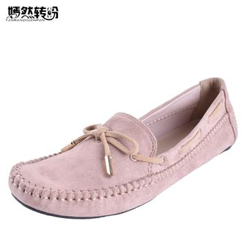 Women Flats Casual Bowtie Loafers Sweet Candy Colors Solid Summer Ballet Shoes Woman Moccasins Female Footwear Size 35-44
