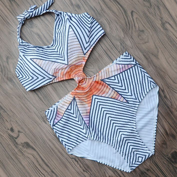Striped Strappy Bathing Suit Beach Wear One Piece Swimsuit