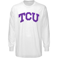 TCU Horned Frogs White Arched Lettering Long Sleeve T-shirt