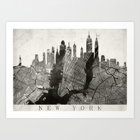 New York Skyline + Map #3 Art Print by Map Map Maps