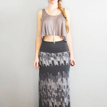 Starling Maxi - Womens Plus - High Waisted Maxi Skirt Heather Grey- By Simka Sol - Hand Printed Maxi Skirt