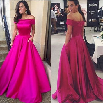 Off Shoulder Hot Pink Satin Prom Dresses