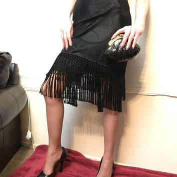 Ralph Lauren BLACK LABEL Designer Black Pencil Skirt with long fringe tassel trim, fine high end luxury women's clothing, runway fashion
