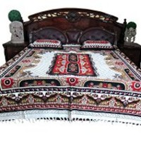 Indi Boho Hippie Bedding Brown Red White Ethnic Cotton Bedcover Bedspreads Tapestry | Mogul Interior
