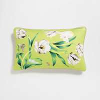 Green tulip print linen cushion cover - BEDROOM - New Floral - Editorials | Zara Home United States of America
