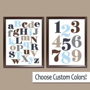 ABC 123 Wall Art Boy Nursery Artwork Alphabet Numbers Navy Blue Tan Beige Gray Choose Colors Set of 2 Prints Baby Crib Bedroom Decor