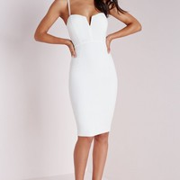 Missguided - Plunge Zip Back Midi Dress White