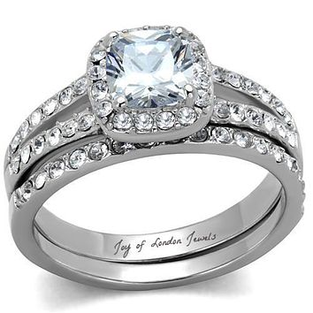 SALE   A Perfect 1.3CT Cushion Cut Halo Russian Lab Diamond Bridal Set Wedding Band Ring