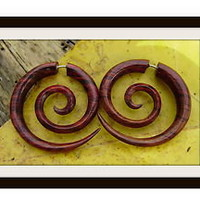 Fake Gauge earrings naturally hand carved tribal style organic
