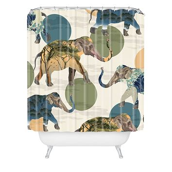 Belle13 Elephant Polka Shower Curtain