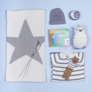 Organic Baby Gift Set - Romper, Blanket, Stuffed Owl Toy, Hat, Moon Rattle Toy & 'Goodnight Moon' Book