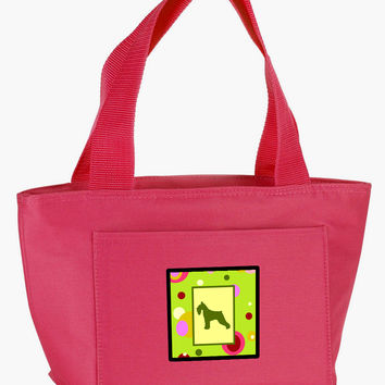 Lime Green Dots Schnauzer  Lunch Bag CK1054PK-8808