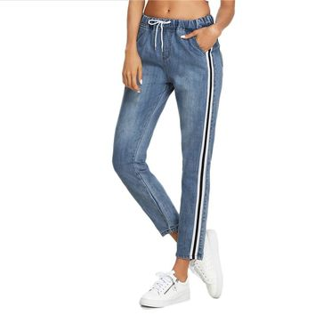 Women's Black Stripe Drawstring Jeans