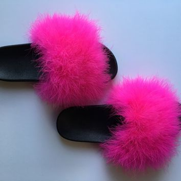 Hot Pink Faux fur slides