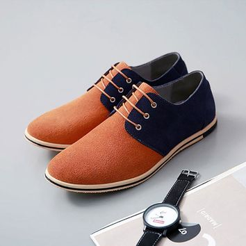 Men shoes 2018 new fashion breathable high quality flock cozy oxfords shoes Lace-up mixed color men casual shoes zapatos hombre