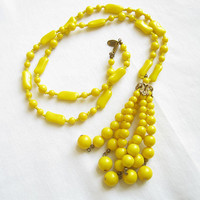 Vintage Signed Miriam Haskell Yellow Lucite Beads Tassel Dangle Necklace