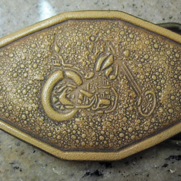 Handcrafted Leather Motorcycle Trophy Style Belt Buckle