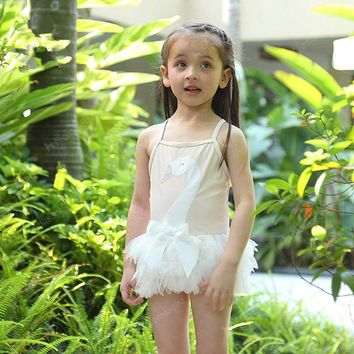 2017 3D Swan lace child swimwear summer white sling girls swimsuit one piece baby princess pool swimming beach kids Bathing suit