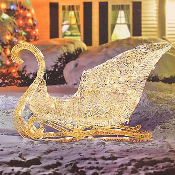 Christmas Sleigh Yard Art - 70 Clear Mini Lights