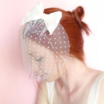 White polka dot bridal fascinator tulle and silk bow OOAK by Jye, Hand-made in France