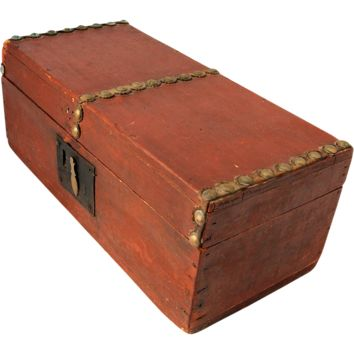 Antique 19th Century Folk Art Wooden Child Tool Box or Document Box Hand Made Square Nail