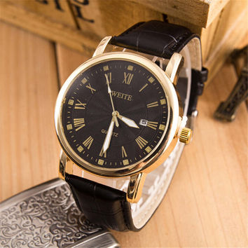 Unique Mens Display Date Leather Watch Casual Mountaineering Racing Sports Watches + Beautiful Gift