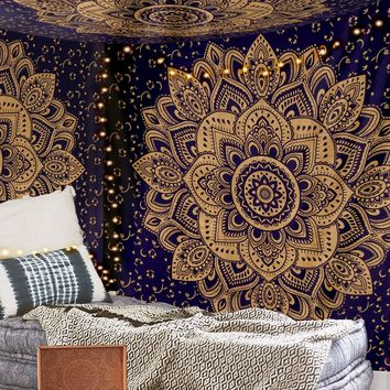Navy Blue and Metallic Gold Bohemian Fabric Tapestry