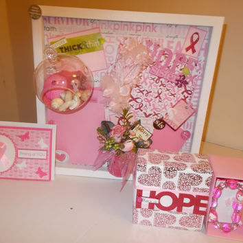 BREAST CANCER AWARENESS  Gift Set for Breast Cancer Sister - Hope Picture Frame Set - Includes Rose Scented Soap - Hope Gift Box and Card