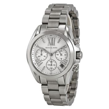 Michael Kors Bradshaw Chronograph Silver Dial Stainless Steel Ladies Watch