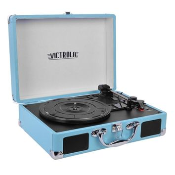 Victrola VSC-550BT 3-Speed Vintage Bluetooth Suitcase Turntable with Built-in Stereo Speakers (Turquoise)