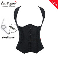 Hot Sexy Corset and Bustiers Waist Training Steel Boned Dobby Women Black Corset with Straps Push Up Slimming Body Shaper = 1715789636