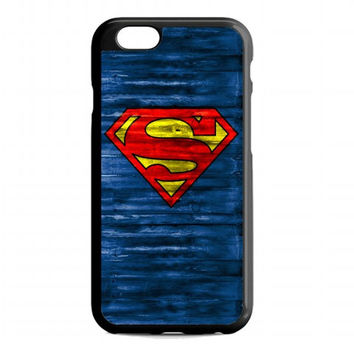 Superman Logo on Wood For iphone 6 case