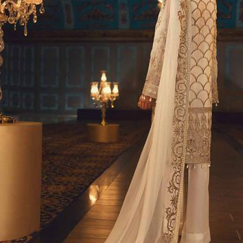 Baroque Jazmin Embroidered Chiffon 3 Piece Suit - We Ship Worldwide