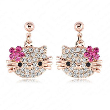 Lovely Hello Kitty Stud Earring for Girls Rose Gold Plate Austrian Crystal Cat Flower Earings With SWA Elements Brinco