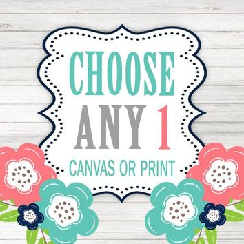 Create Your Own Single 1 Wall Art, Choose Any 1 CANVAS or Print Quote TRM Design Home NURSERY Boy Girl Home Decor Wall Decor Wall Decor