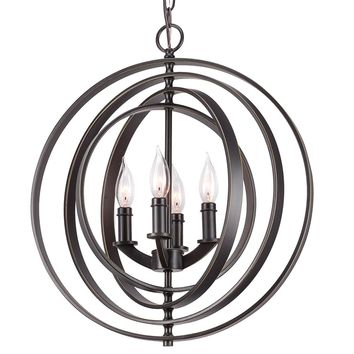 4-Light Modern Sphere/Orb Chandelier With Interlocking Rings, Black