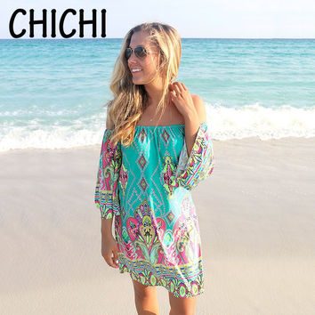 Beach Dress Fashion Bohemian Boho Flower Print Off Shoulder Womens Casual Vintage Women