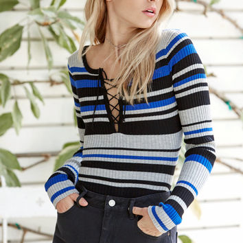 Say What Stripe Lace-Up Sweater at PacSun.com