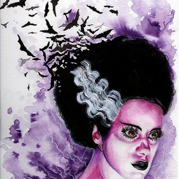 We Belong Dead - Bride of Frankenstien Original Watercolor Painting